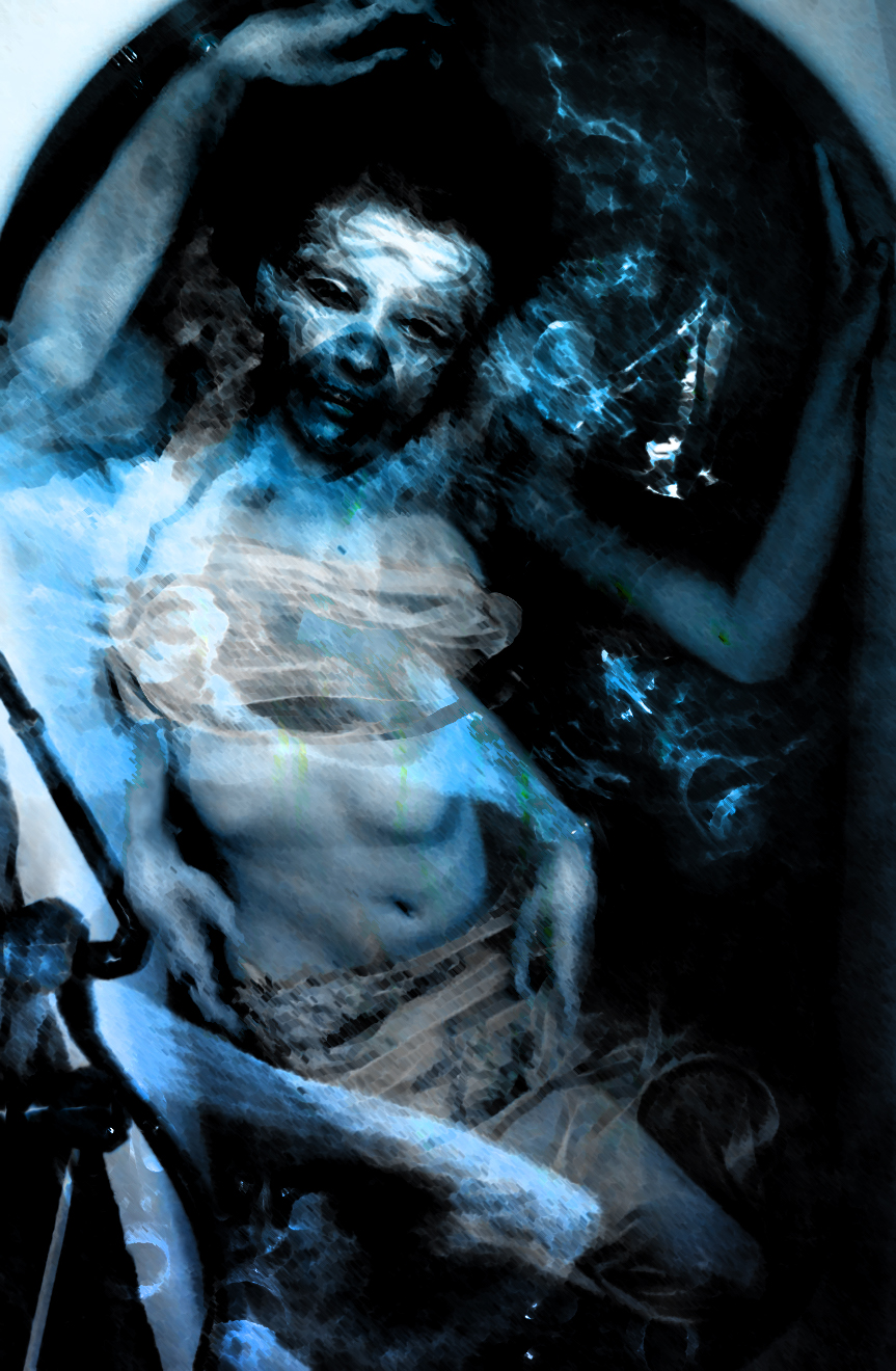 A photomanipulated image in shades of blue, of a multi-armed mer-creature uncomfortably confined in a bathtub.